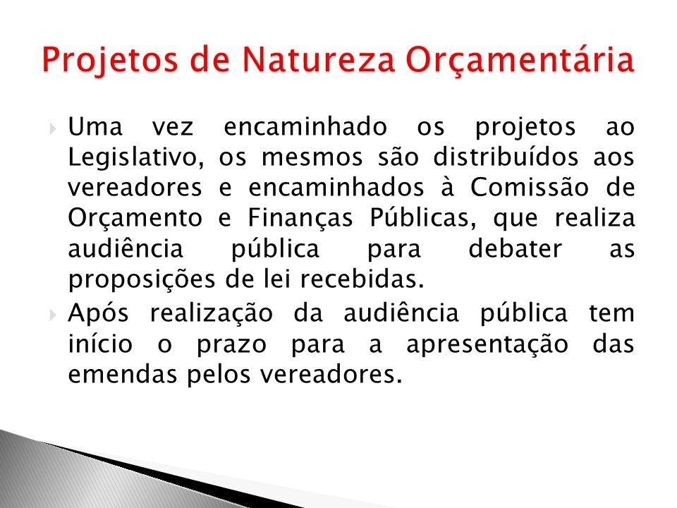 Uma vez encaminhado os projetos ao Legislativo, os mesmos são distribuídos aos vereadores e encaminhados à Comissão de Orçamento e Finanças Públicas,
