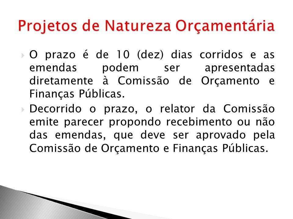 O prazo é de 10 (dez) dias corridos e as emendas podem ser apresentadas diretamente à Comissão de Orçamento e Finanças Públicas. Decorrido o prazo, o
