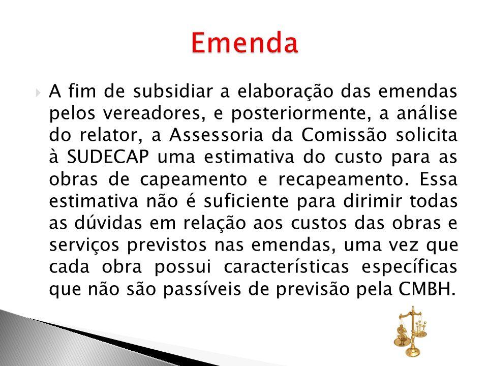 A fim de subsidiar a elaboração das emendas pelos vereadores, e posteriormente, a análise do relator, a Assessoria da Comissão solicita à SUDECAP uma
