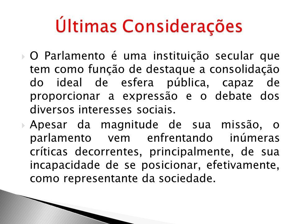 O Parlamento é uma instituição secular que tem como função de destaque a consolidação do ideal de esfera pública, capaz de proporcionar a expressão e