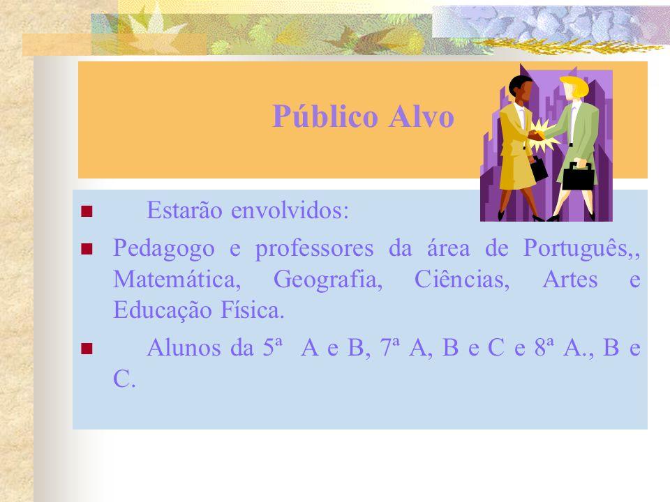 Público Alvo Estarão envolvidos: Pedagogo e professores da área de Português,, Matemática, Geografia, Ciências, Artes e Educação Física.