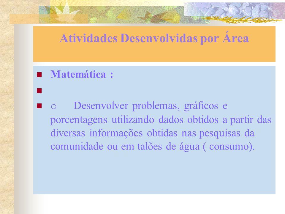 Atividades Desenvolvidas por Área Matemática : o Desenvolver problemas, gráficos e porcentagens utilizando dados obtidos a partir das diversas informações obtidas nas pesquisas da comunidade ou em talões de água ( consumo).