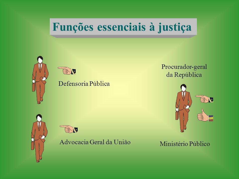 Funções essenciais à justiça Defensoria Pública Advocacia Geral da União Procurador-geral da República Ministério Público