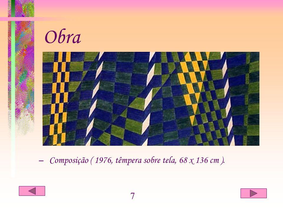 CONCLUSÃO –Volpi, apesar de autodidata teve grande conhecimento de técnicas, ou seja, habilidade no uso e emprego dos materiais, trabalhou experimentando vários tipos de tintas produzido por ele mesmo.