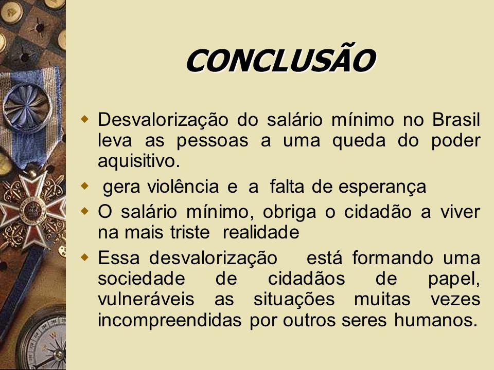CONCLUSÃO Desvalorização do salário mínimo no Brasil leva as pessoas a uma queda do poder aquisitivo. gera violência e a falta de esperança O salário