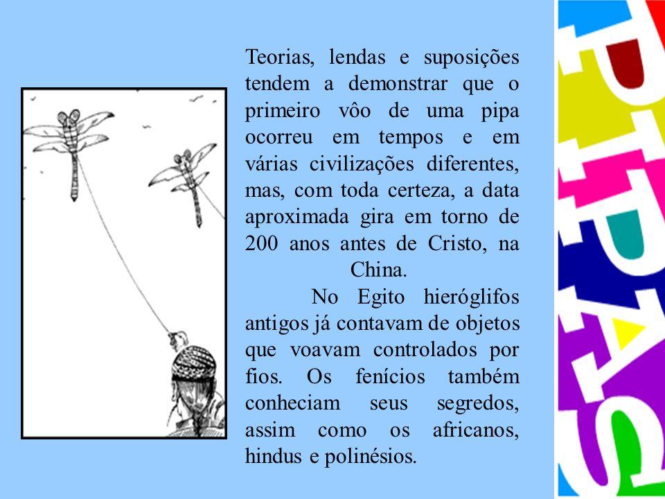 Teorias, lendas e suposições tendem a demonstrar que o primeiro vôo de uma pipa ocorreu em tempos e em várias civilizações diferentes, mas, com toda c
