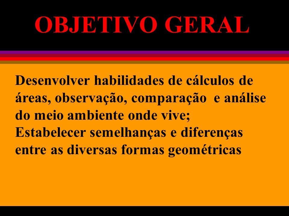 Desenvolver habilidades de cálculos de áreas, observação, comparação e análise do meio ambiente onde vive; Estabelecer semelhanças e diferenças entre as diversas formas geométricas OBJETIVO GERAL