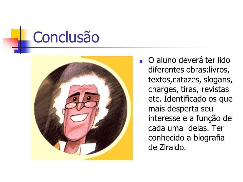 Conclusão O aluno deverá ter lido diferentes obras:livros, textos,catazes, slogans, charges, tiras, revistas etc.