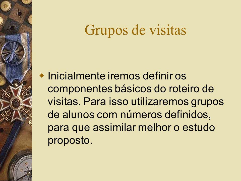 Grupos de visitas Inicialmente iremos definir os componentes básicos do roteiro de visitas.
