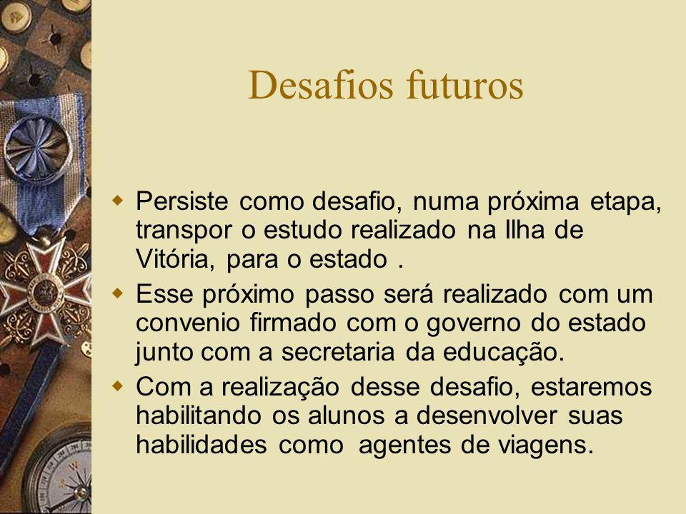 Desafios futuros Persiste como desafio, numa próxima etapa, transpor o estudo realizado na Ilha de Vitória, para o estado.