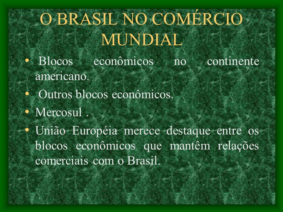 O BRASIL NO COMÉRCIO MUNDIAL Blocos econômicos no continente americano. Outros blocos econômicos. Mercosul. União Européia merece destaque entre os bl