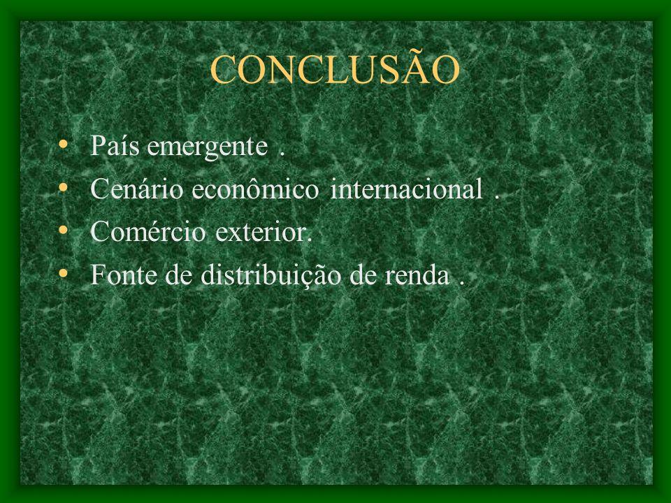 CONCLUSÃO País emergente. Cenário econômico internacional. Comércio exterior. Fonte de distribuição de renda.