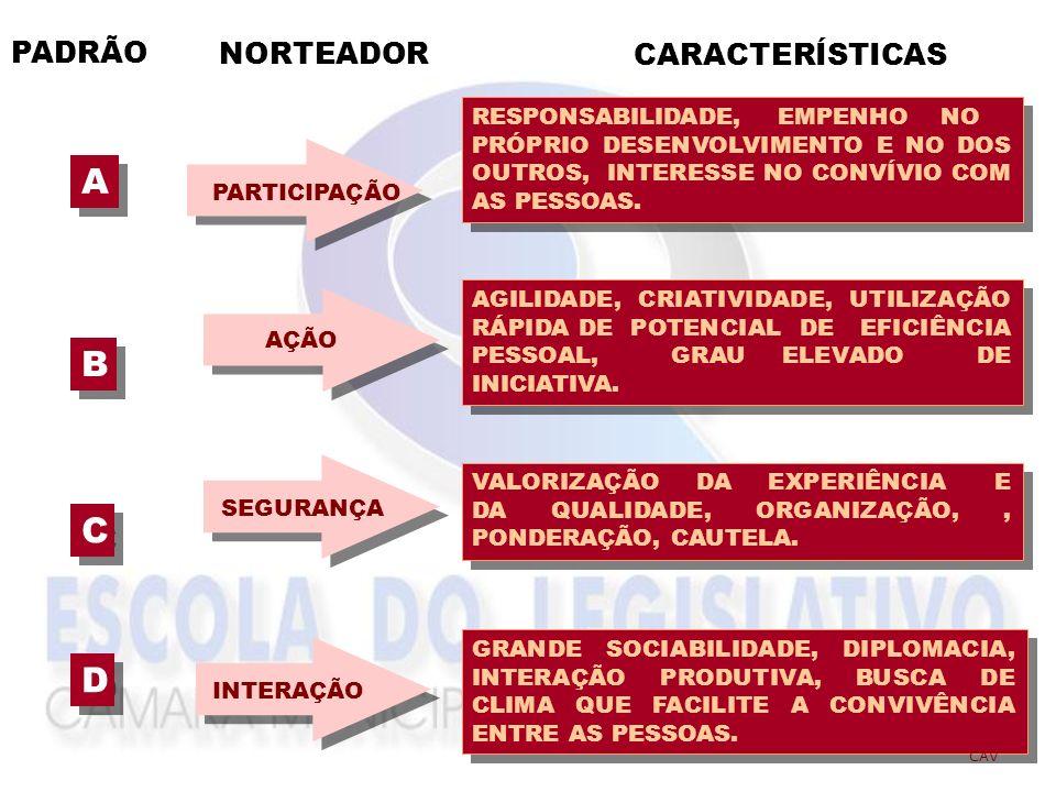NORTEADORES DO COMPORTAMENTO A - PARTICIPAÇÃO B - AÇÃO D -INTERAÇÃO C - SEGURANÇA