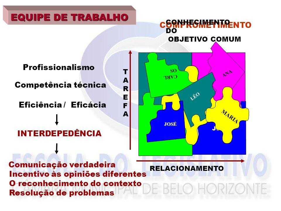 ANA LÉO JOSÉ MARIA CARLOS Profissionalismo Competência técnica Eficiência EQUIPE DE TRABALHO COMPROMETIMENTO COM O OBJETIVO INTERDEPEDÊNCIA ANA CARL OS LÉO MARIA JOSÉ CONHECIMENTO DO OBJETIVO COMUM Comunicação verdadeira Incentivo às opiniões diferentes O reconhecimento do contexto Resolução de problemas RELACIONAMENTO TAREFATAREFA / Eficácia