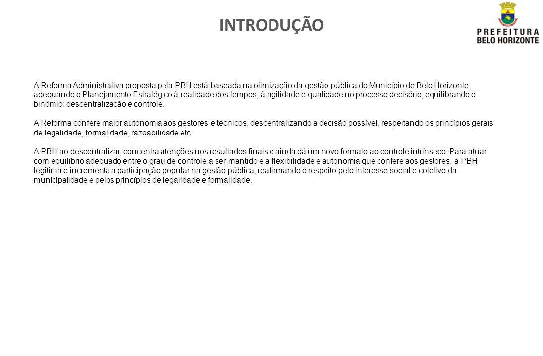 INTRODUÇÃO A Reforma Administrativa proposta pela PBH está baseada na otimização da gestão pública do Município de Belo Horizonte, adequando o Planeja