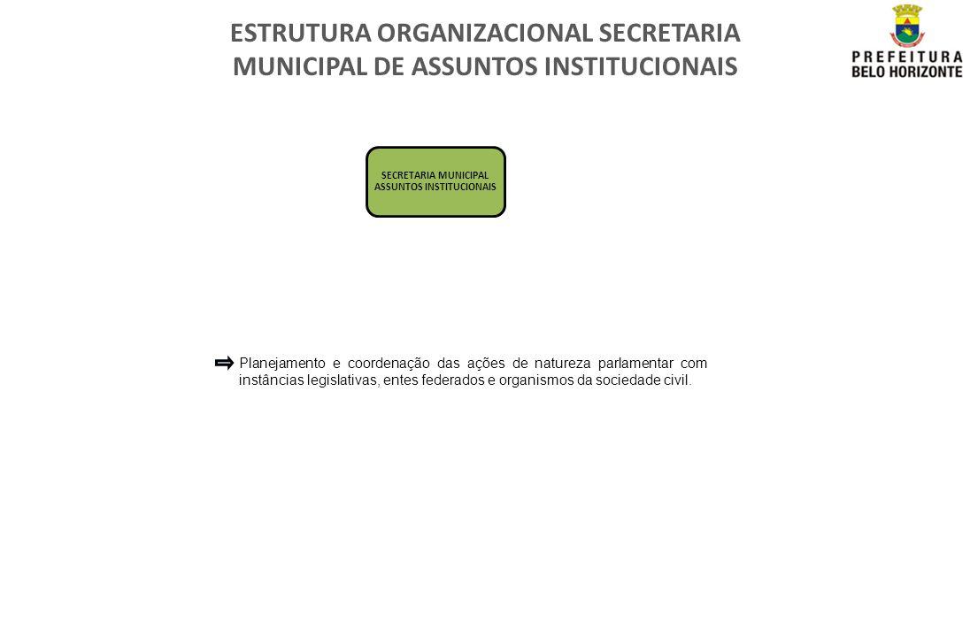 ESTRUTURA ORGANIZACIONAL SECRETARIA MUNICIPAL DE ASSUNTOS INSTITUCIONAIS SECRETARIA MUNICIPAL ASSUNTOS INSTITUCIONAIS Planejamento e coordenação das a