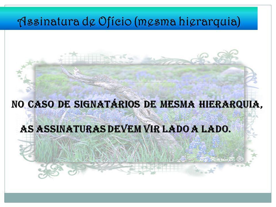 Assinatura de Ofício (mesma hierarquia) No caso de signatários de mesma hierarquia, as assinaturas devem vir lado a lado.