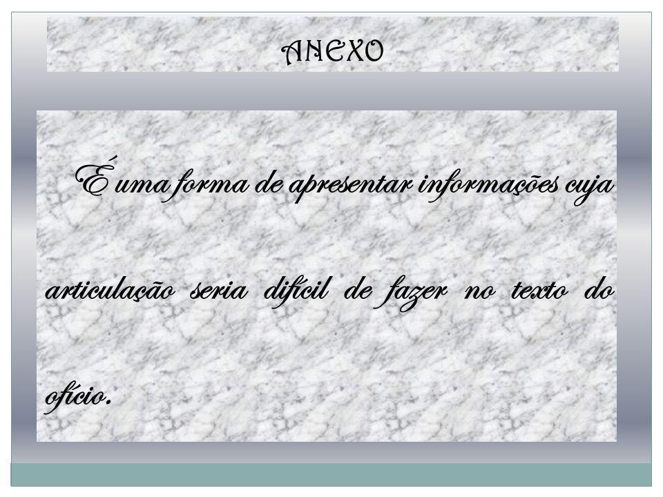 ANEXO É uma forma de apresentar informações cuja articulação seria difícil de fazer no texto do ofício.