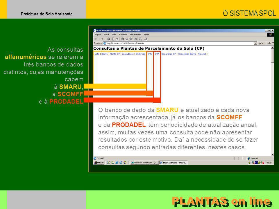 Prefeitura de Belo Horizonte O SISTEMA SPOL PLANTAS on line As consultas alfanuméricas se referem a três bancos de dados distintos, cujas manutenções
