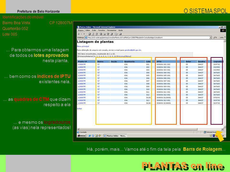 Prefeitura de Belo Horizonte O SISTEMA SPOL PLANTAS on line Identificações do imóvel Bairro Boa Vista Quarteirão 052 Lote 005 CP 128007M... e mesmo os