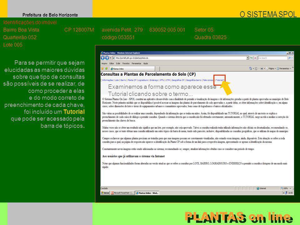 Prefeitura de Belo Horizonte O SISTEMA SPOL PLANTAS on line Identificações do imóvel Bairro Boa Vista Quarteirão 052 Lote 005 CP 128007M avenida Petit