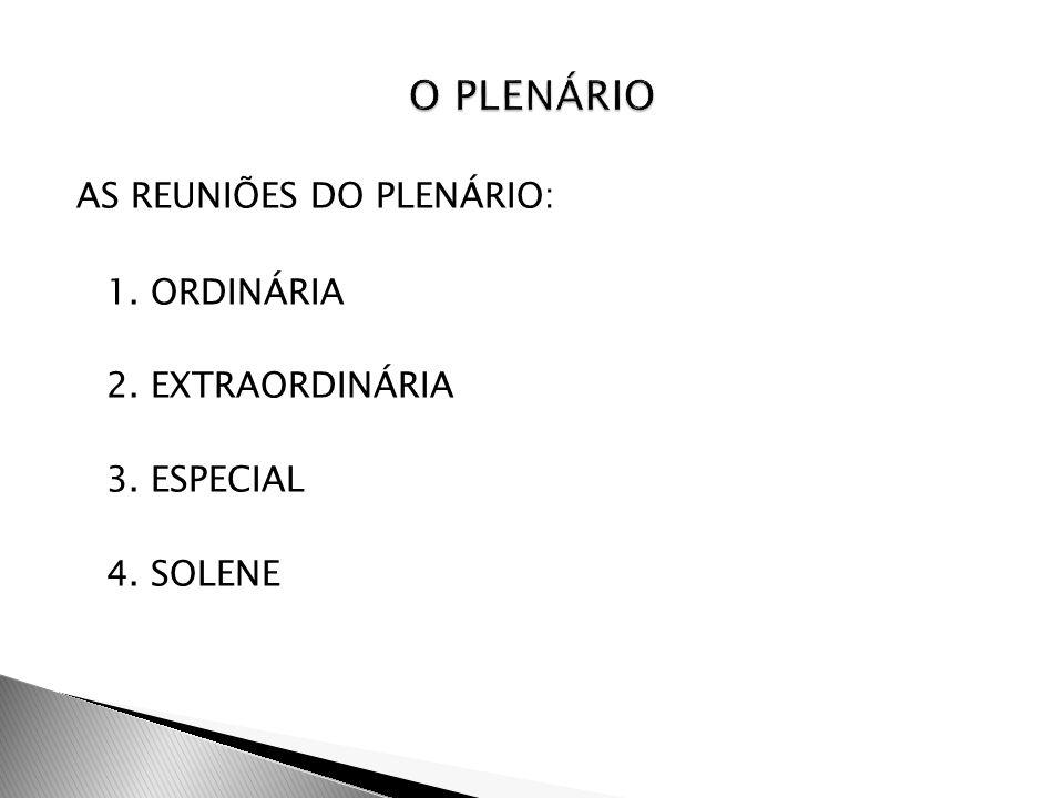 AS REUNIÕES DO PLENÁRIO: 1. ORDINÁRIA 2. EXTRAORDINÁRIA 3. ESPECIAL 4. SOLENE