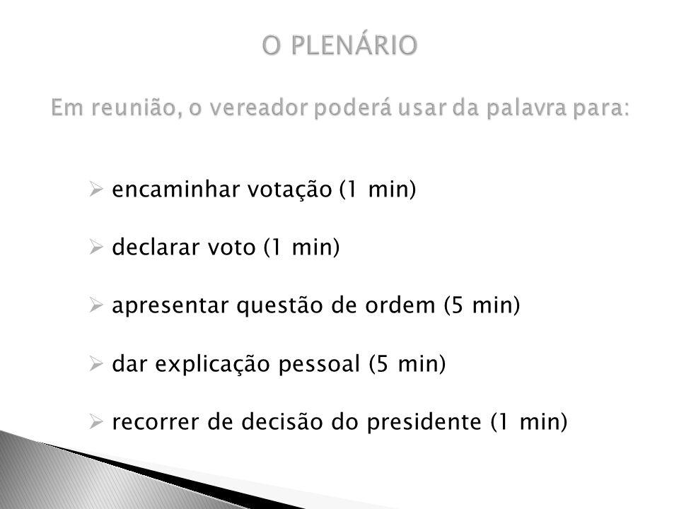 encaminhar votação (1 min) declarar voto (1 min) apresentar questão de ordem (5 min) dar explicação pessoal (5 min) recorrer de decisão do presidente