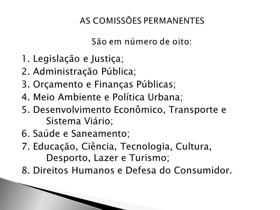1. Legislação e Justiça; 2. Administração Pública; 3. Orçamento e Finanças Públicas; 4. Meio Ambiente e Política Urbana; 5. Desenvolvimento Econômico,