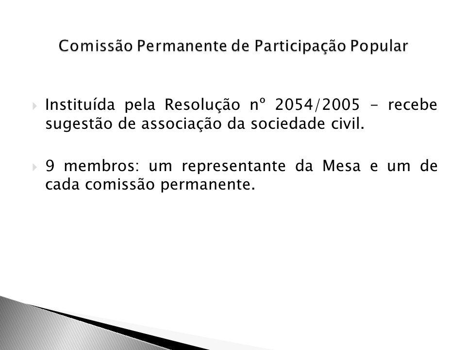Instituída pela Resolução nº 2054/2005 - recebe sugestão de associação da sociedade civil. 9 membros: um representante da Mesa e um de cada comissão p