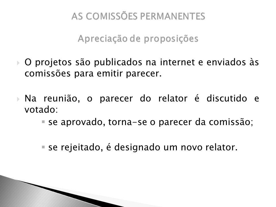 O projetos são publicados na internet e enviados às comissões para emitir parecer. Na reunião, o parecer do relator é discutido e votado: se aprovado,