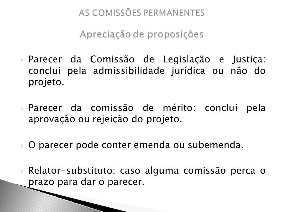 Parecer da Comissão de Legislação e Justiça: conclui pela admissibilidade jurídica ou não do projeto. Parecer da comissão de mérito: conclui pela apro