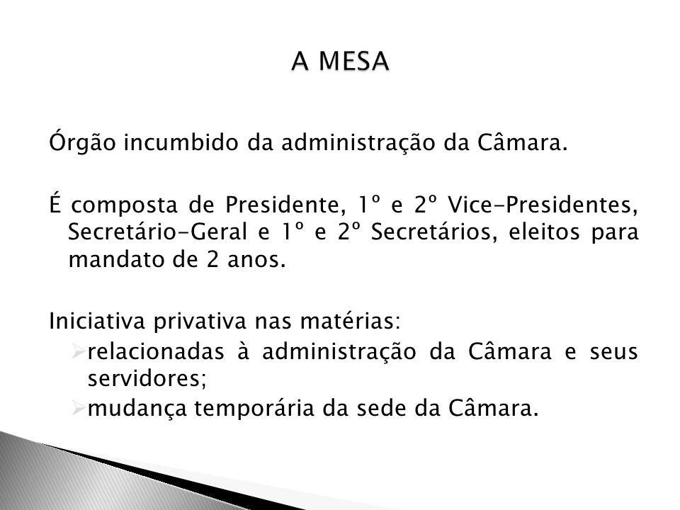 Órgão incumbido da administração da Câmara. É composta de Presidente, 1º e 2º Vice-Presidentes, Secretário-Geral e 1º e 2º Secretários, eleitos para m