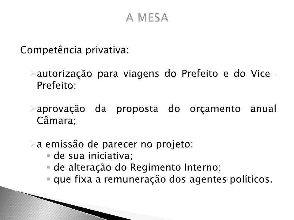 Competência privativa: autorização para viagens do Prefeito e do Vice- Prefeito; aprovação da proposta do orçamento anual Câmara; a emissão de parecer