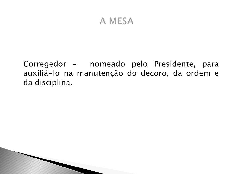 Corregedor - nomeado pelo Presidente, para auxiliá-lo na manutenção do decoro, da ordem e da disciplina.