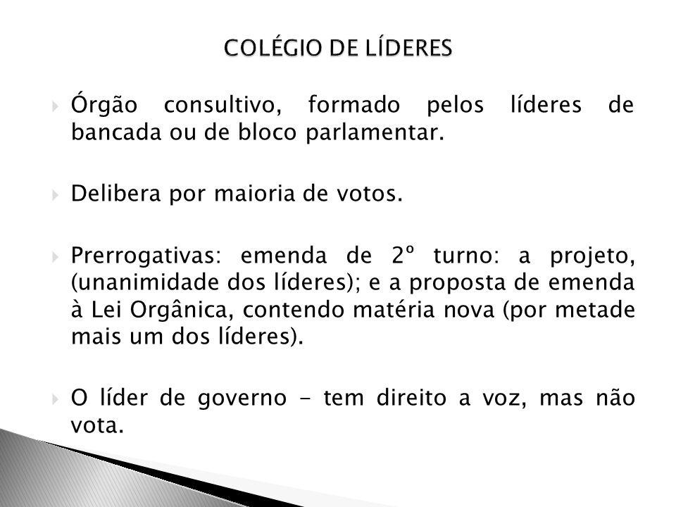 Órgão consultivo, formado pelos líderes de bancada ou de bloco parlamentar. Delibera por maioria de votos. Prerrogativas: emenda de 2º turno: a projet