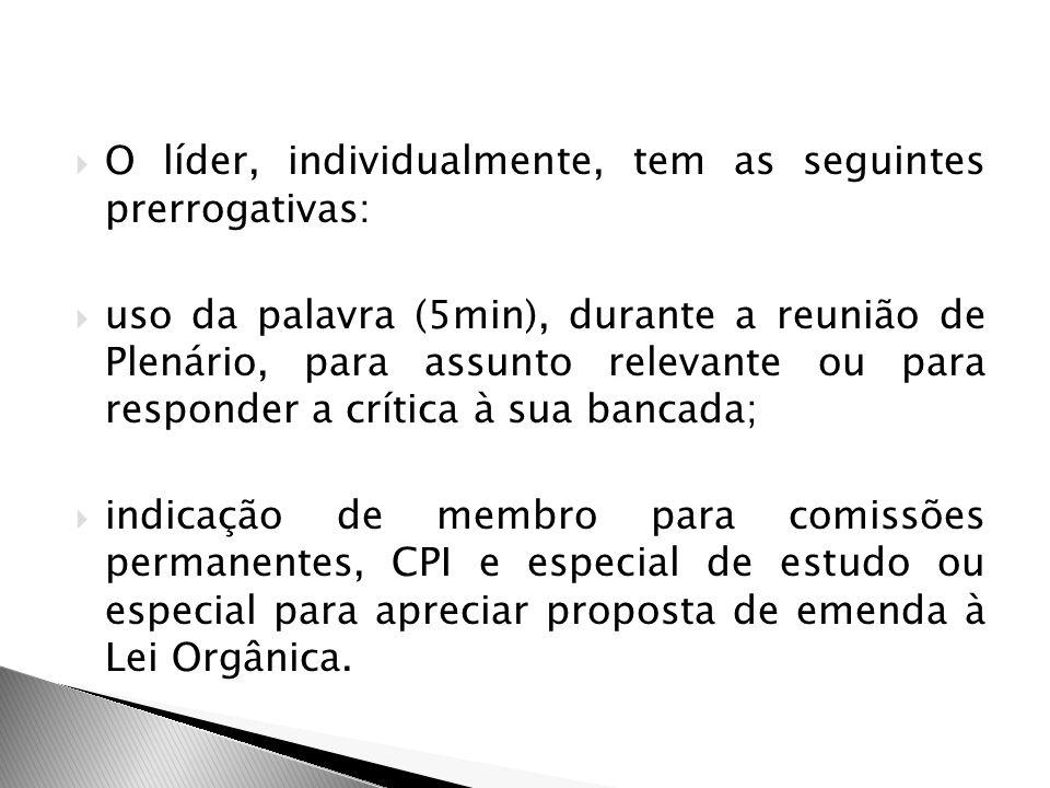 O líder, individualmente, tem as seguintes prerrogativas: uso da palavra (5min), durante a reunião de Plenário, para assunto relevante ou para respond