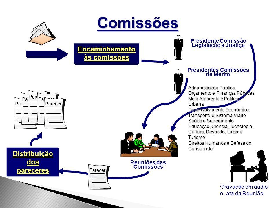 Gravação em aúdio e ata da Reunião Parecer Parecer ParecerComissões Encaminhamento às comissões Presidente Comissão Legislação e Justiça Presidentes C