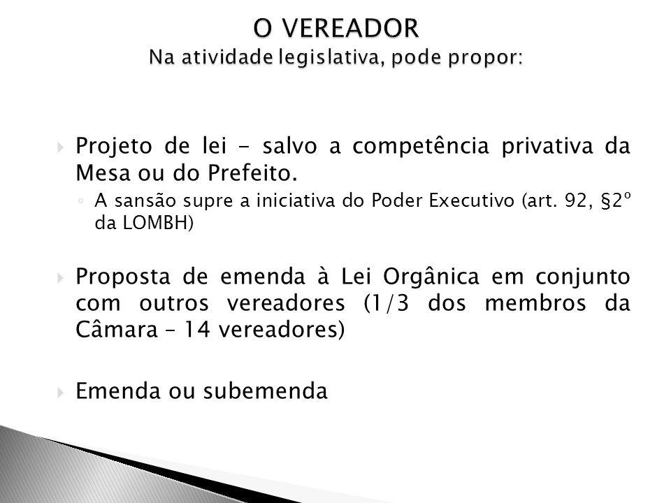 Projeto de lei - salvo a competência privativa da Mesa ou do Prefeito. A sansão supre a iniciativa do Poder Executivo (art. 92, §2º da LOMBH) Proposta