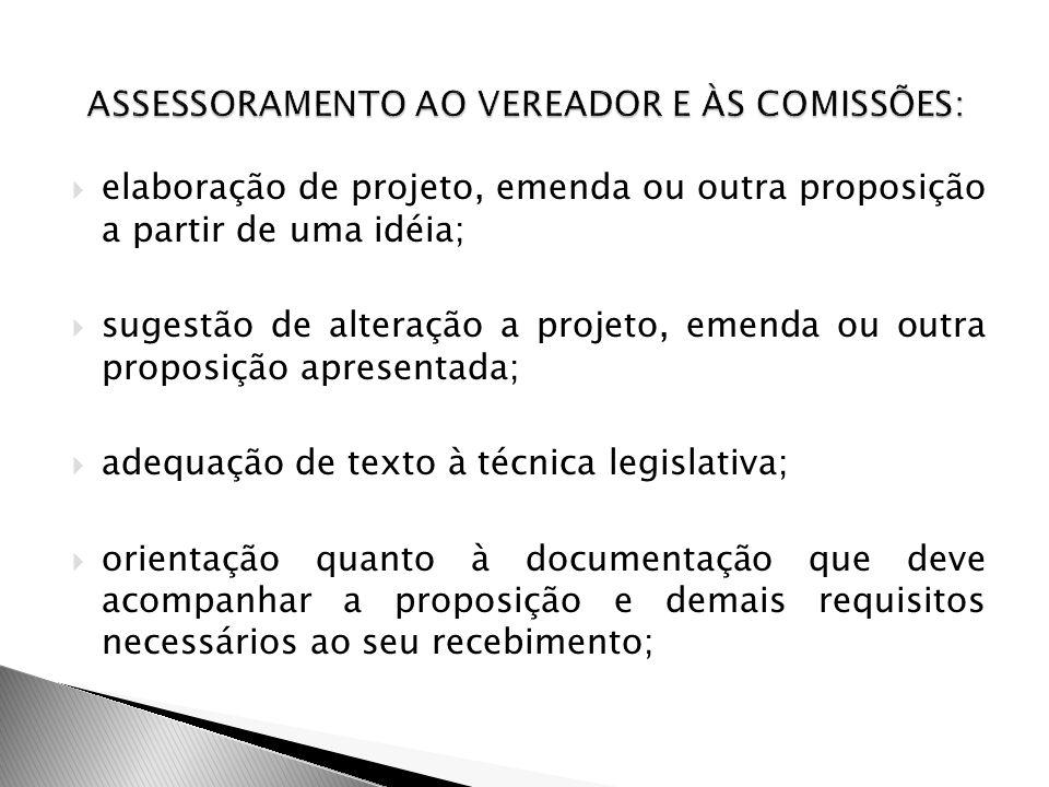 elaboração de projeto, emenda ou outra proposição a partir de uma idéia; sugestão de alteração a projeto, emenda ou outra proposição apresentada; adeq