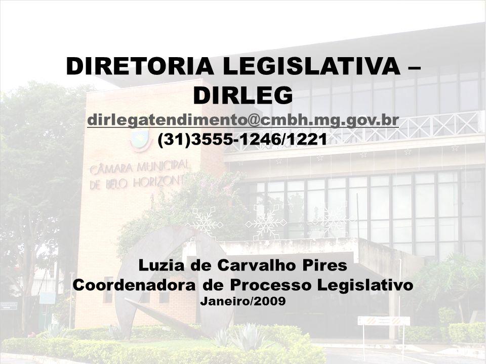 DIRETORIA LEGISLATIVA – DIRLEG dirlegatendimento@cmbh.mg.gov.br (31)3555-1246/1221 dirlegatendimento@cmbh.mg.gov.br Luzia de Carvalho Pires Coordenado