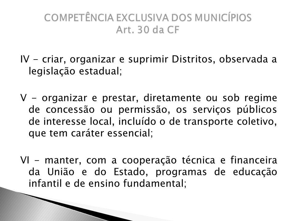 IV - criar, organizar e suprimir Distritos, observada a legislação estadual; V - organizar e prestar, diretamente ou sob regime de concessão ou permis