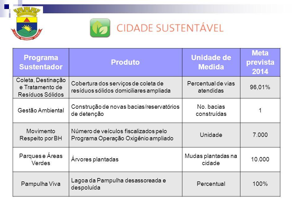 Programa Sustentador Produto Unidade de Medida Meta prevista 2014 Coleta, Destinação e Tratamento de Resíduos Sólidos Cobertura dos serviços de coleta