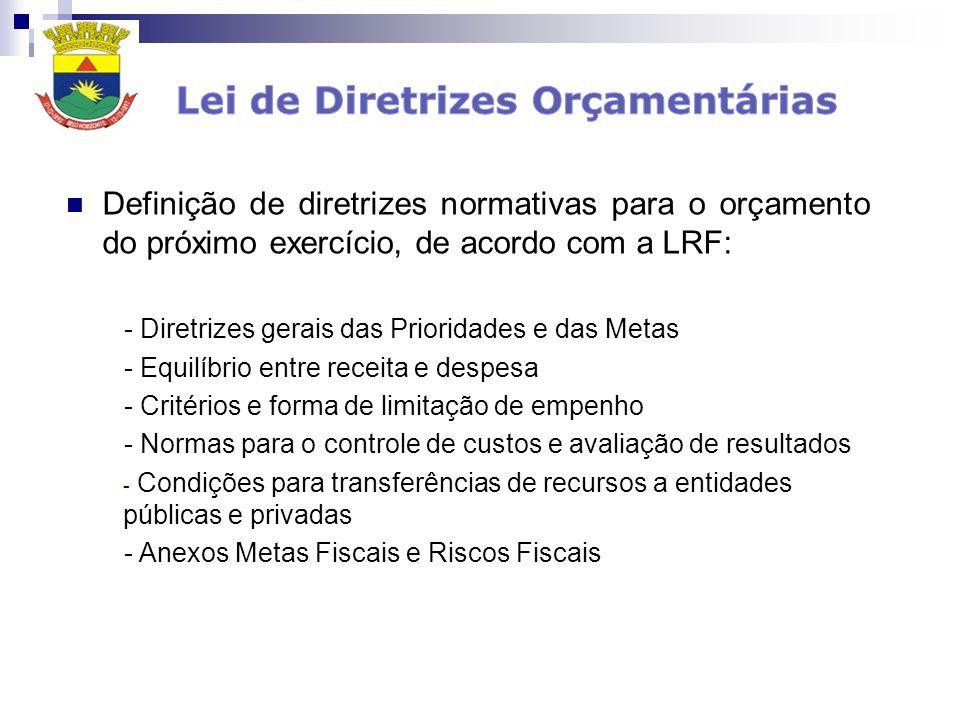 Definição de diretrizes normativas para o orçamento do próximo exercício, de acordo com a LRF: - Diretrizes gerais das Prioridades e das Metas - Equil