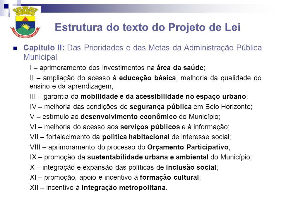 Estrutura do texto do Projeto de Lei Capítulo II: Das Prioridades e das Metas da Administração Pública Municipal I – aprimoramento dos investimentos n