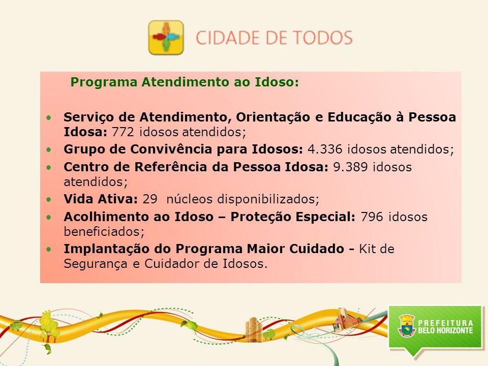 Programa Atendimento ao Idoso: Serviço de Atendimento, Orientação e Educação à Pessoa Idosa: 772 idosos atendidos; Grupo de Convivência para Idosos: 4