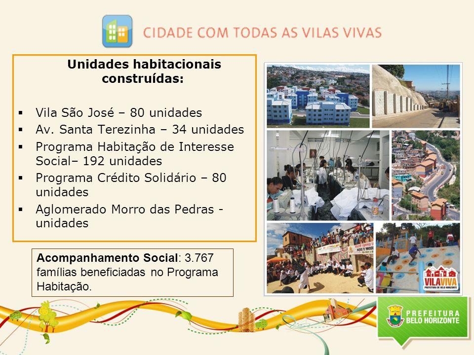 Unidades habitacionais construídas: Vila São José – 80 unidades Av. Santa Terezinha – 34 unidades Programa Habitação de Interesse Social– 192 unidades