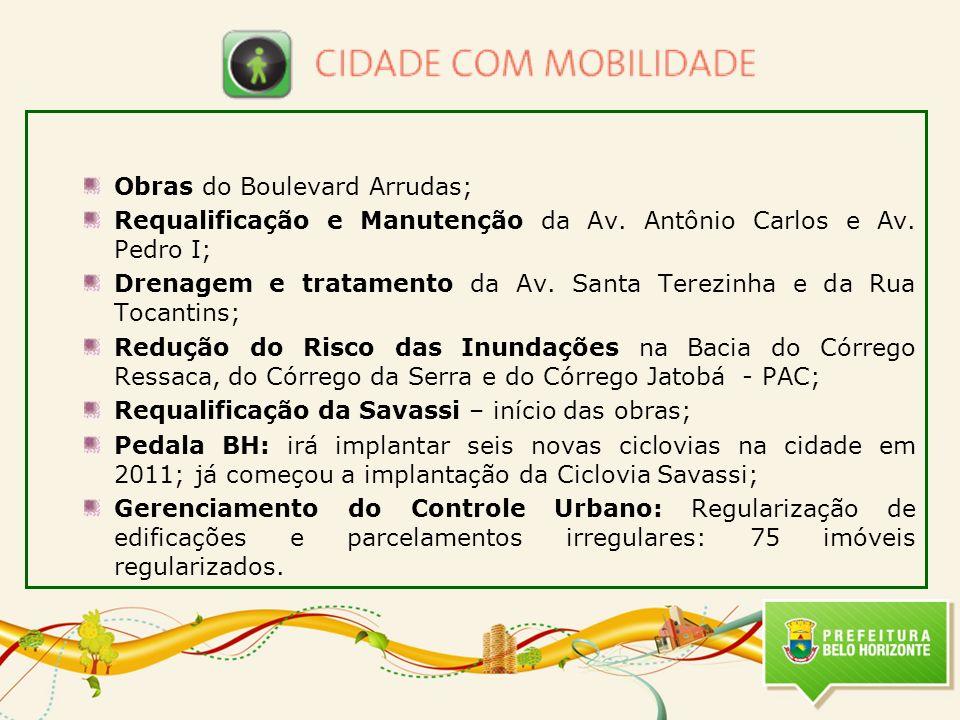 Obras do Boulevard Arrudas; Requalificação e Manutenção da Av. Antônio Carlos e Av. Pedro I; Drenagem e tratamento da Av. Santa Terezinha e da Rua Toc