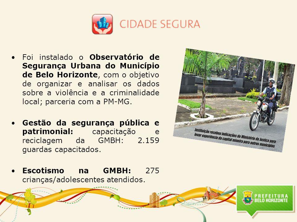 Foi instalado o Observatório de Segurança Urbana do Município de Belo Horizonte, com o objetivo de organizar e analisar os dados sobre a violência e a