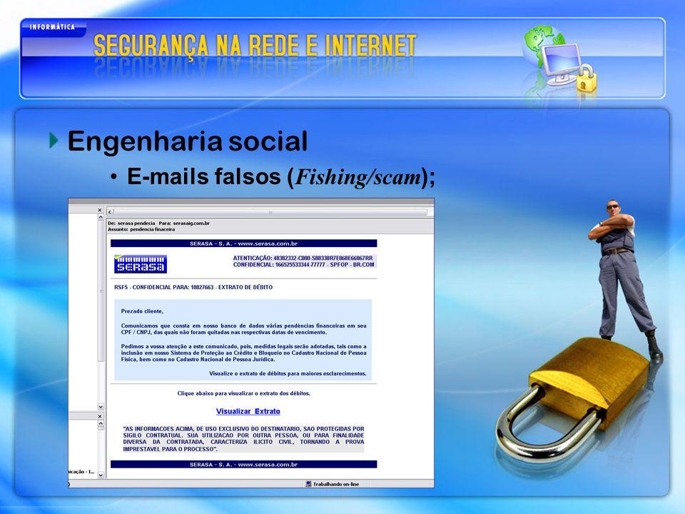 Engenharia social E-mails falsos ( Fishing/scam );