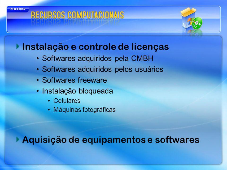Instalação e controle de licenças Softwares adquiridos pela CMBH Softwares adquiridos pelos usuários Softwares freeware Instalação bloqueada Celulares